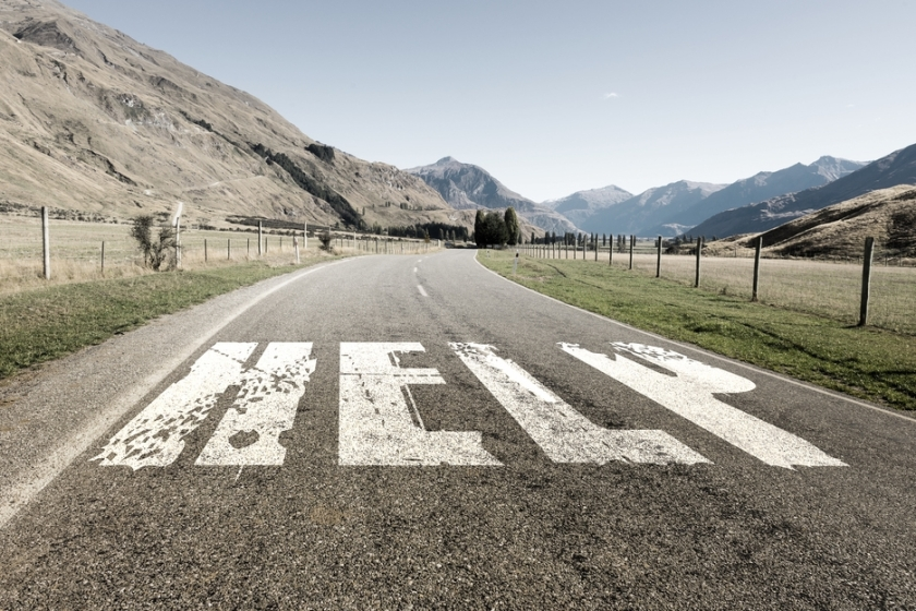 Natural landscape of asphalt road and drawn conceptual word on it