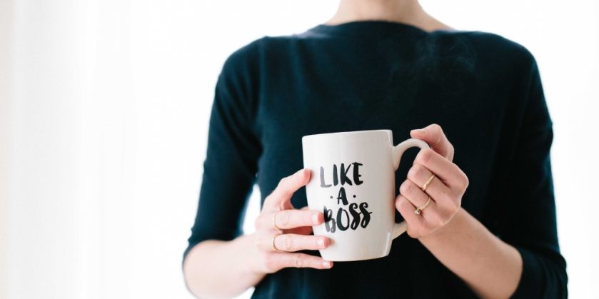 Motherhood and career - woman with mug