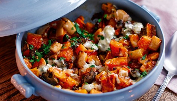 Vegetarian recipes for Christmas - Roast squash with blue cheese and pickled walnuts
