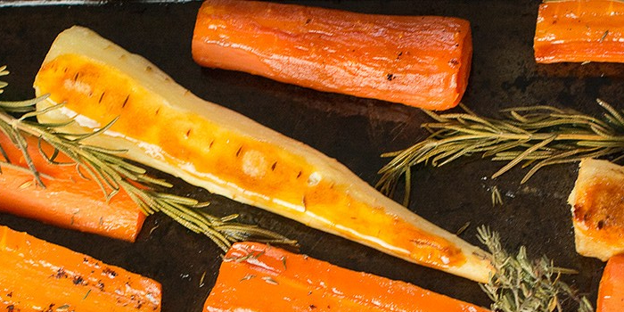 Honey roast parsnips and carrots